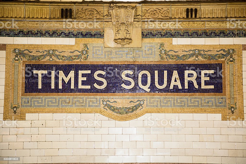 Subway Times Square Sign, New York stock photo
