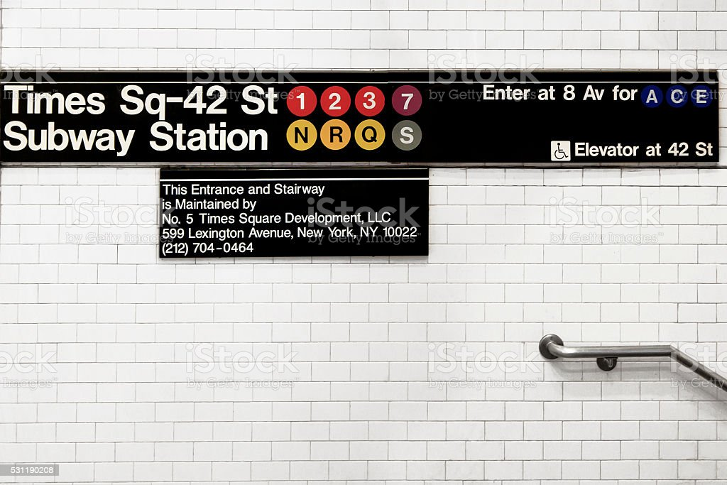 Subway Times Square Sign stock photo