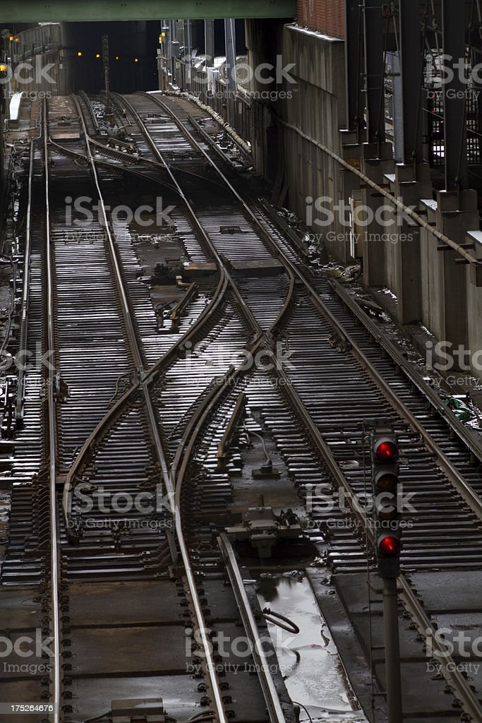 Subway tracks and tunnel royalty-free stock photo