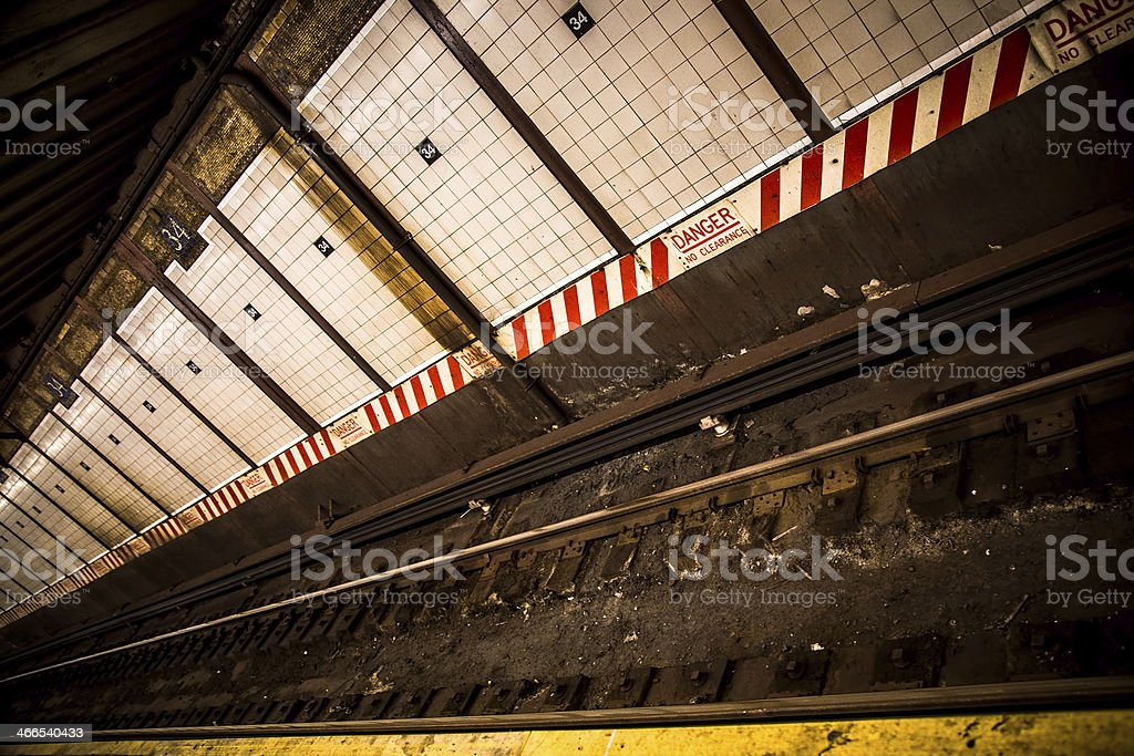 Subway Tracks Penn Station stock photo