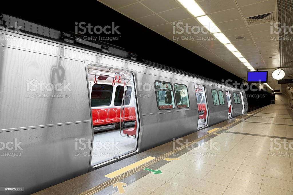 Subway Train And Empty Station royalty-free stock photo