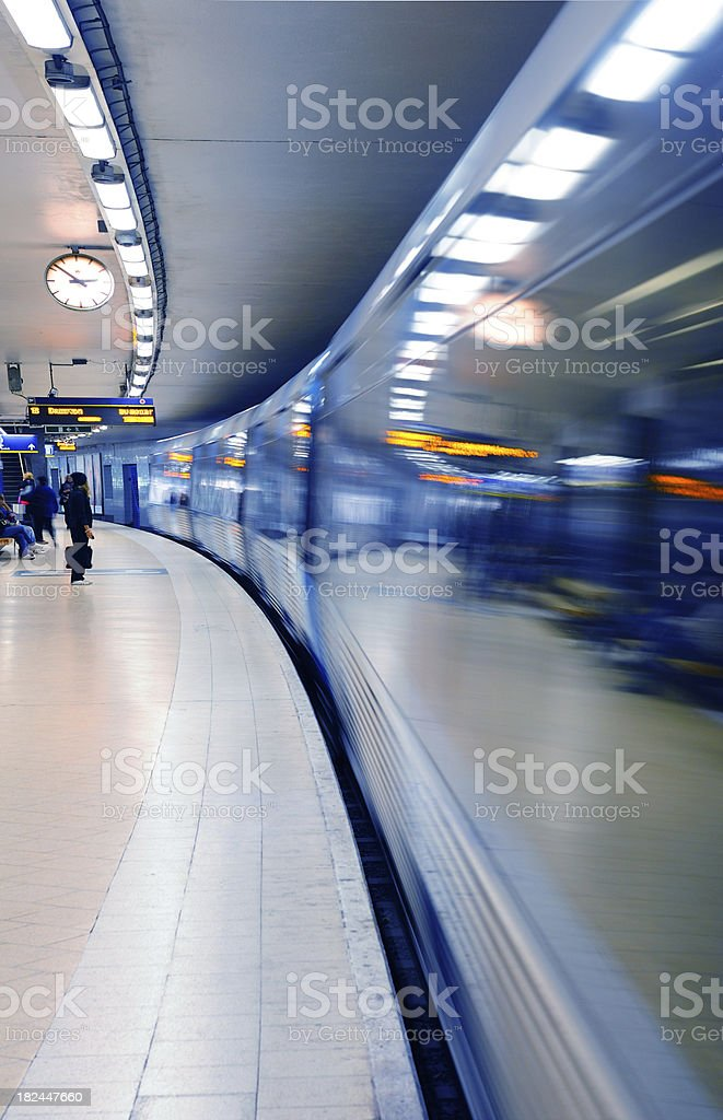 Subway train arriving to station royalty-free stock photo