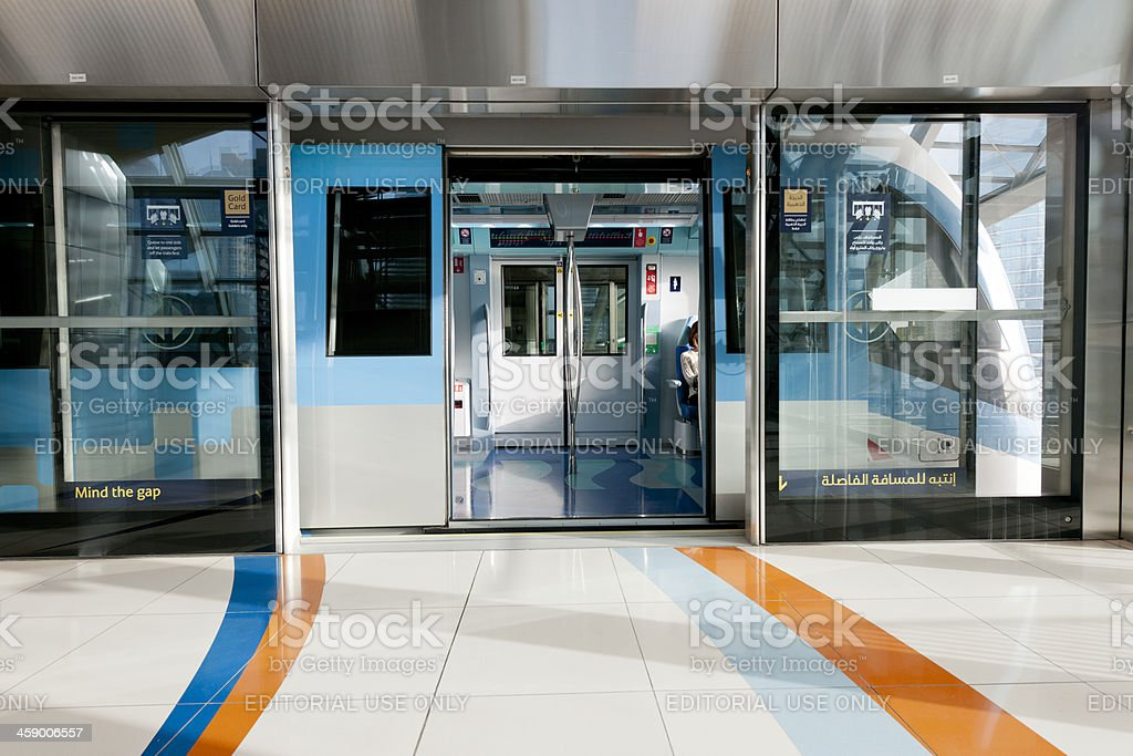 subway train at station platform in Dubai stock photo