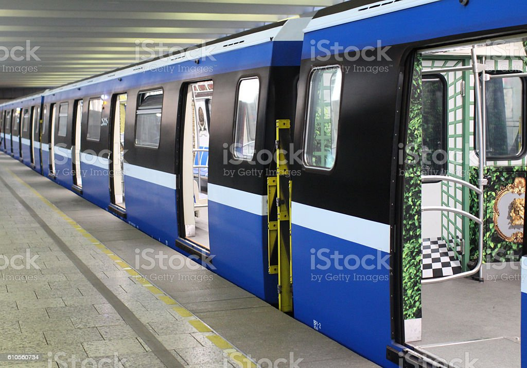 Subway train at the station stock photo