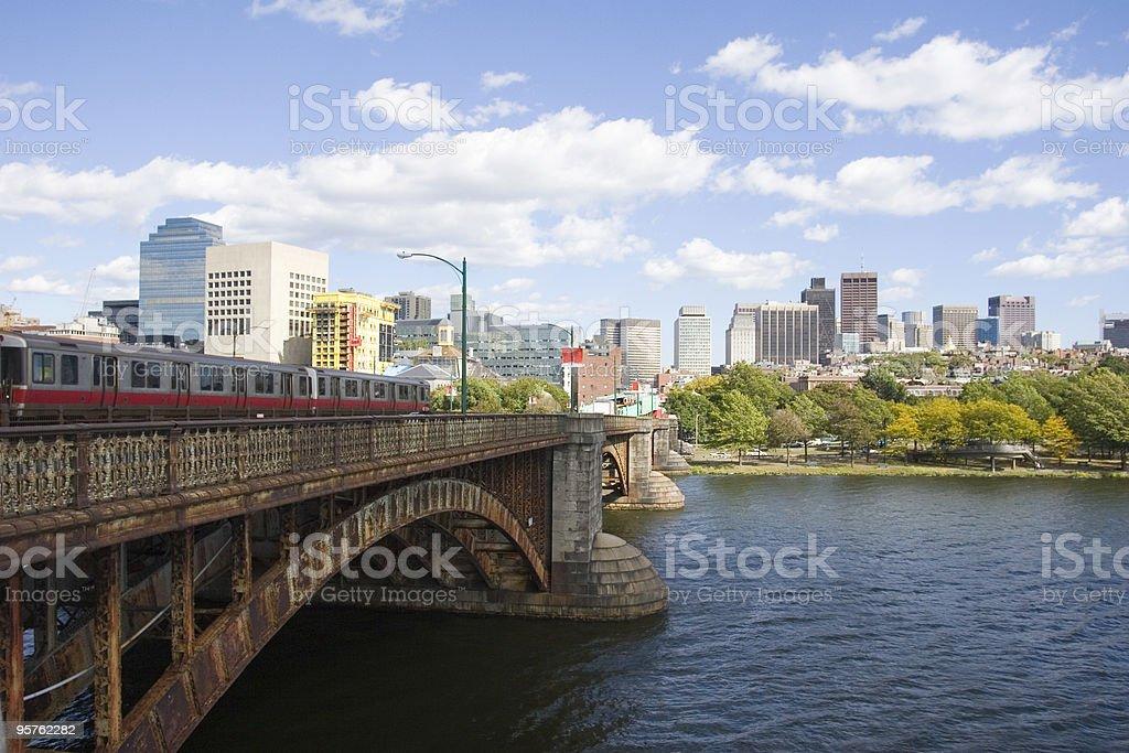 Subway Train Crossing Bridge Into Boston stock photo
