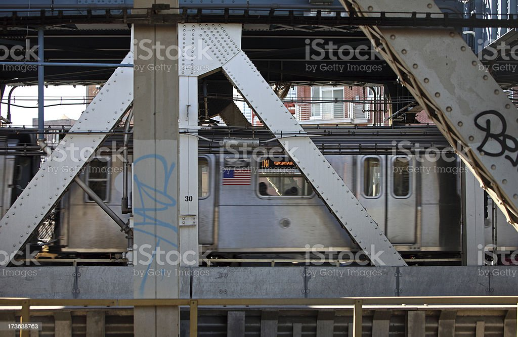Subway Train Crossing Manhattan Bridge stock photo