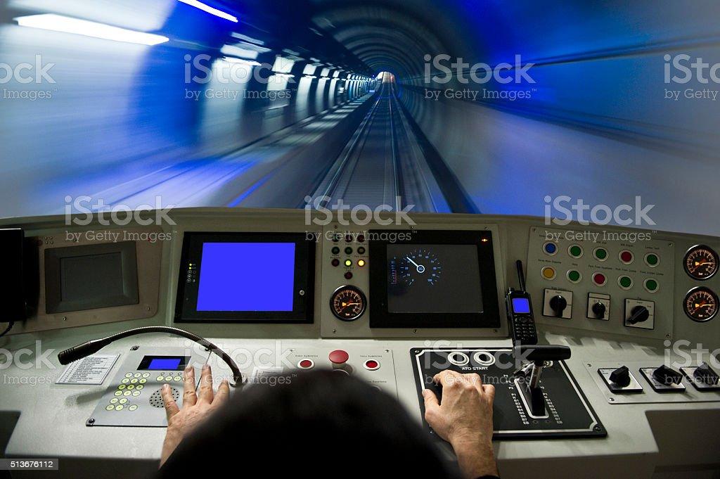 Subway train driver cabin stock photo