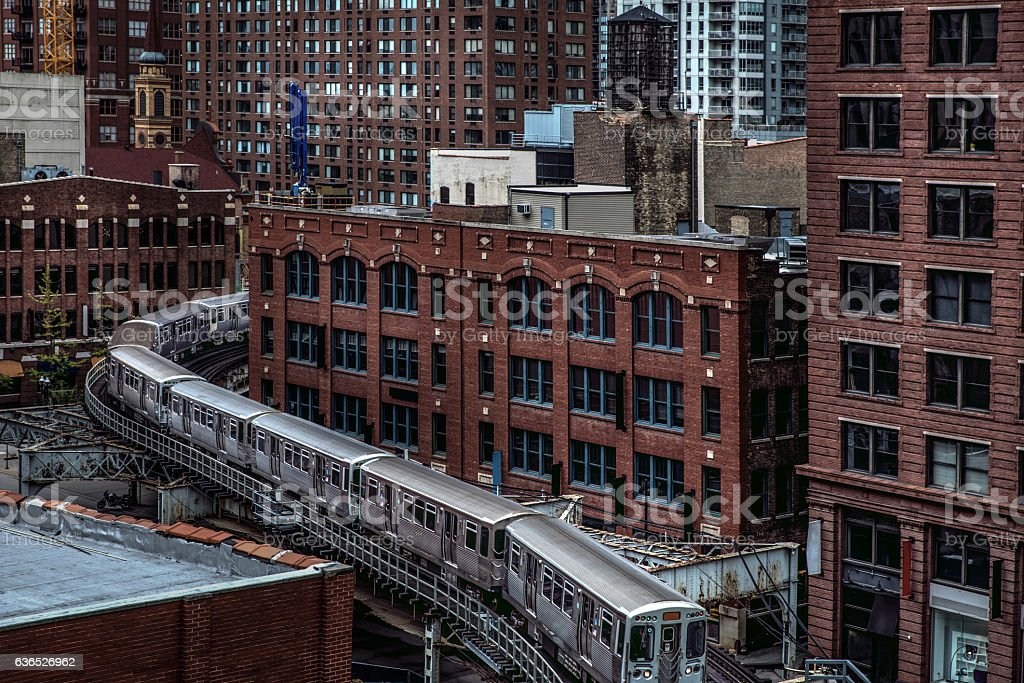 Subway train in downtown Chicago, IL stock photo