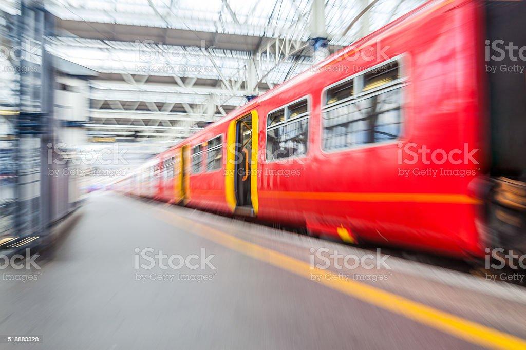 Subway train in London stock photo