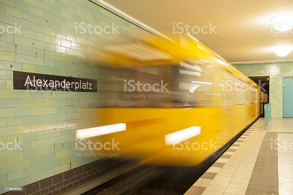 Subway train in motion royalty-free stock photo