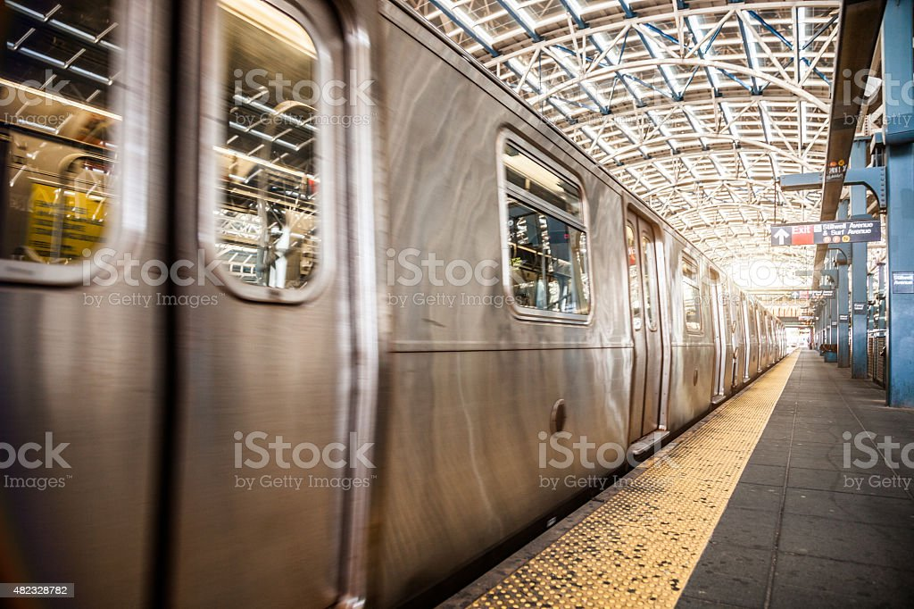 Subway train in New York Coney Island station stock photo