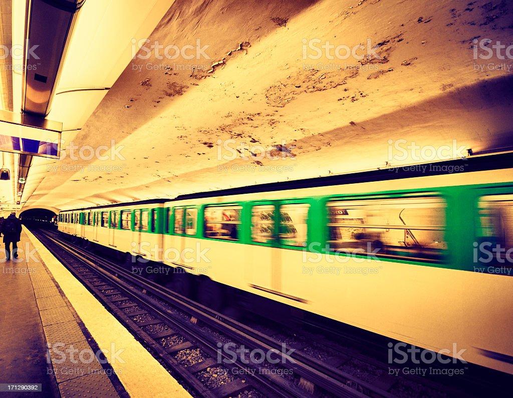 Subway train in Paris underground royalty-free stock photo