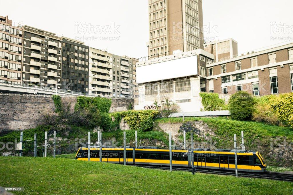 Subway train in the city stock photo