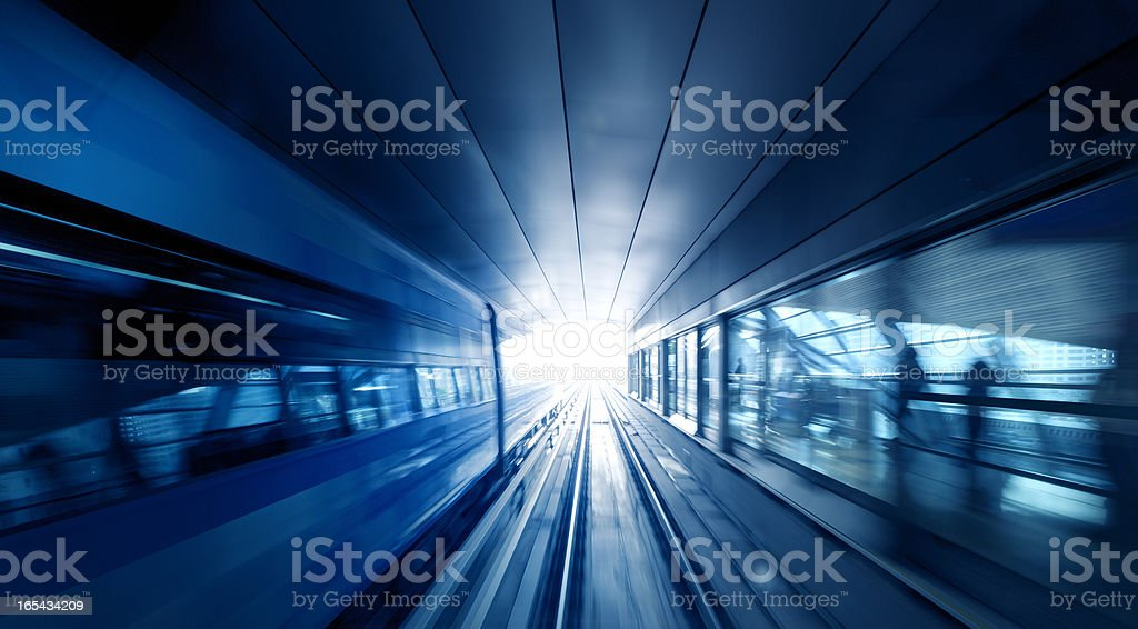 subway train in tunnel stock photo