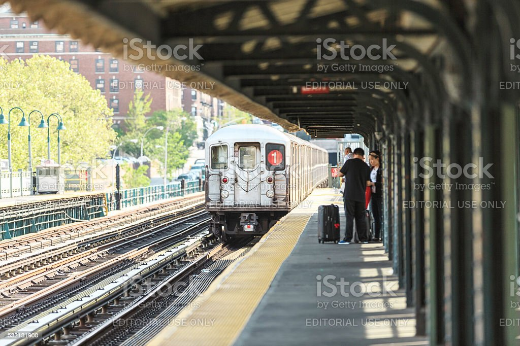 NYC Subway Train On Line 1 In Harlem stock photo