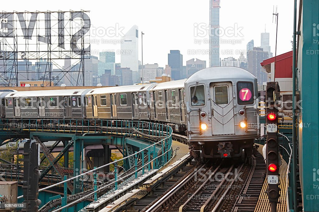 NYC MTA subway train on Line 7 in Queens stock photo