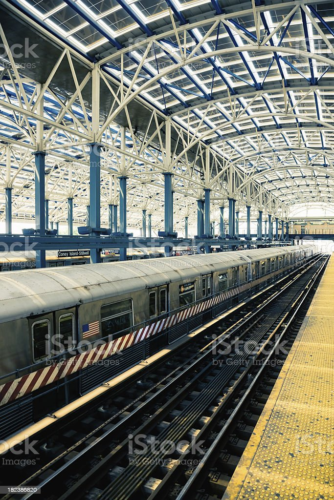 NY Subway Train Station Coney Island stock photo