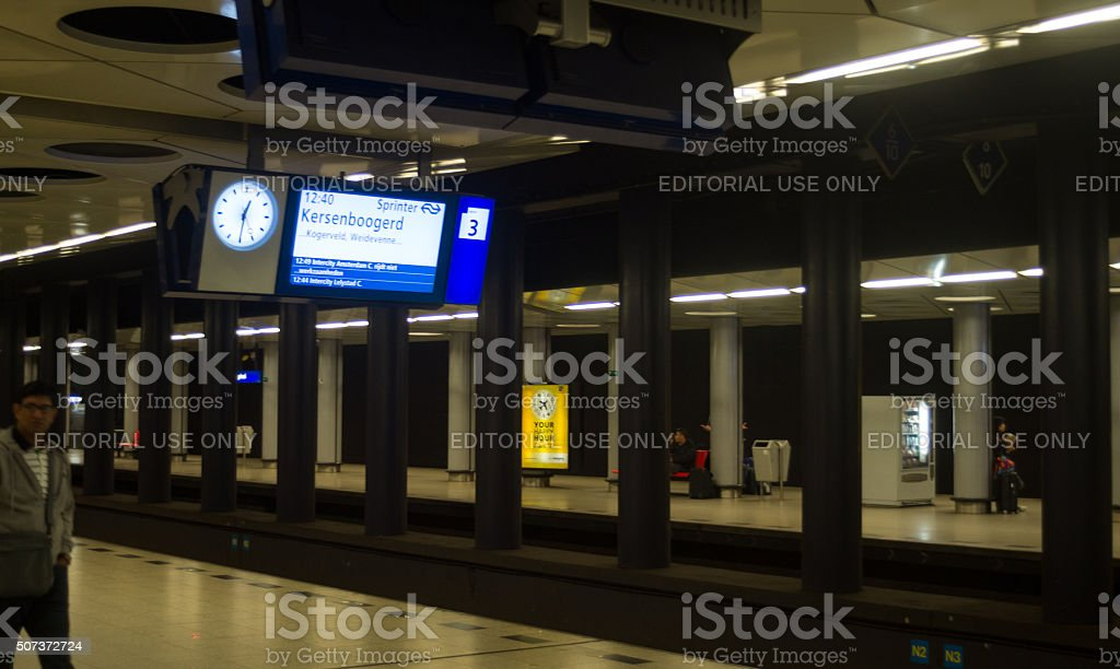 Subway Train Station in Amsterdam stock photo