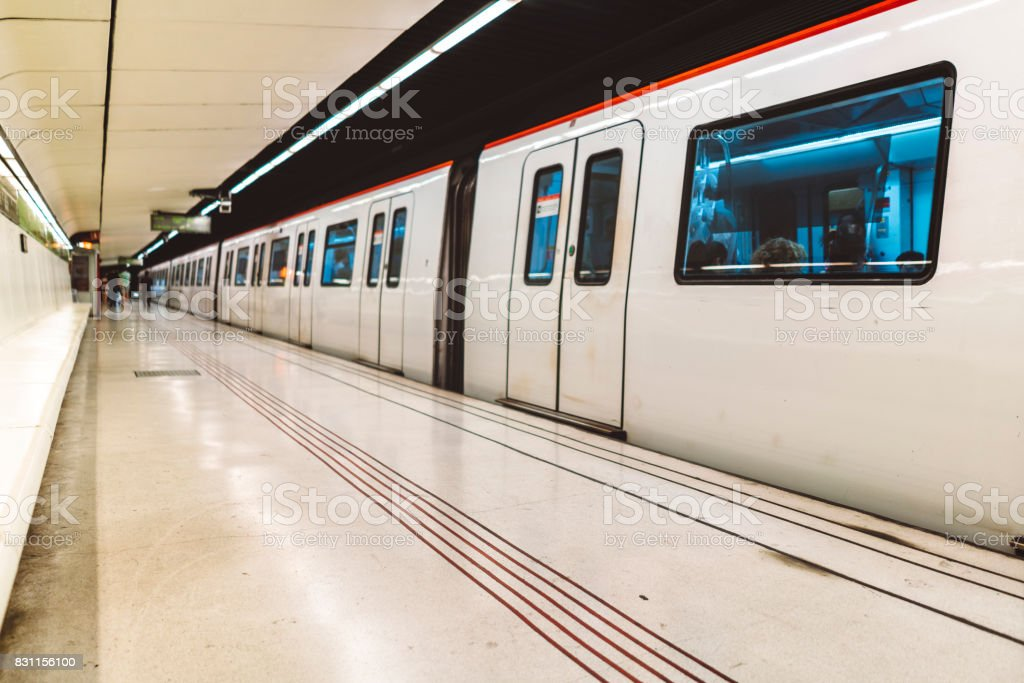 Subway Train station with no people stock photo
