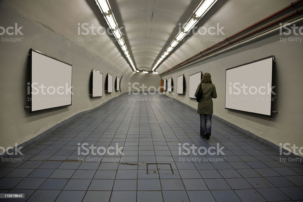 Subway Tunnel with Empty Billboards-Click for more blank signs stock photo