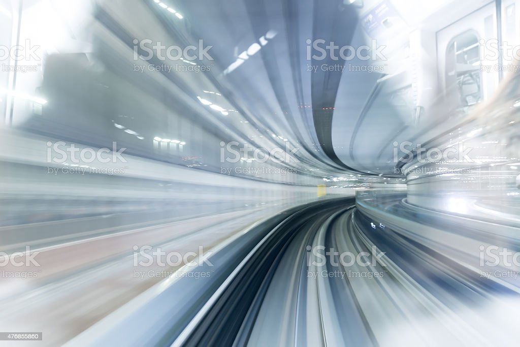 Subway tunnel with Motion blur of a city from inside stock photo