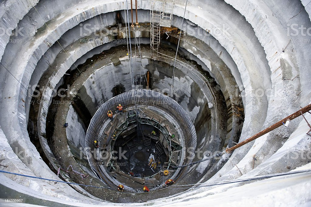Subway, underground tunnel construction stock photo