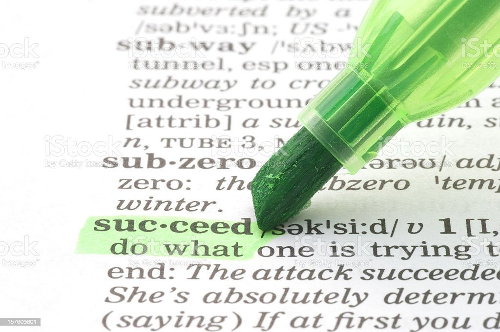 succeed definition highlighted with green marker in dictionary royalty-free stock photo