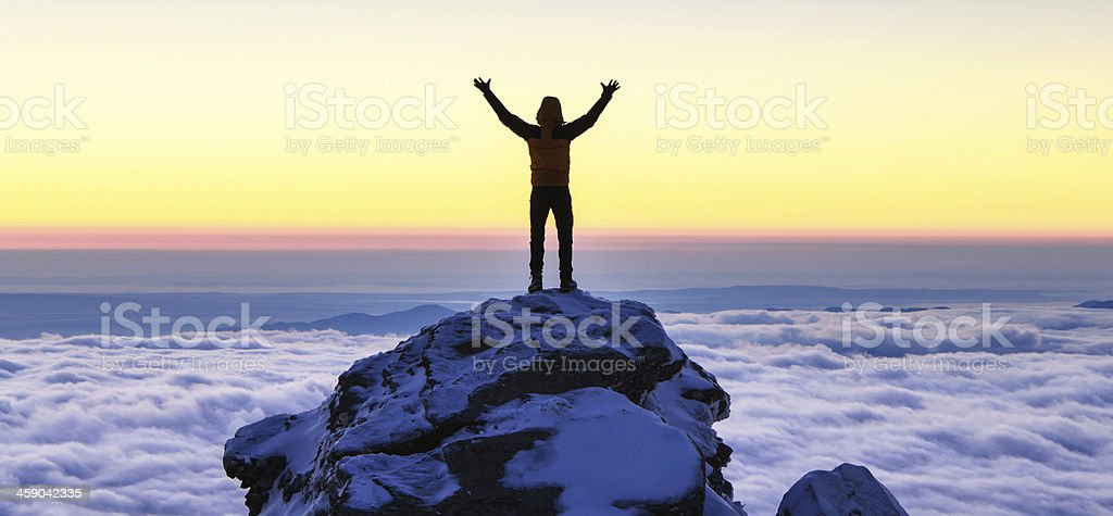 succes on top of the mountain stock photo