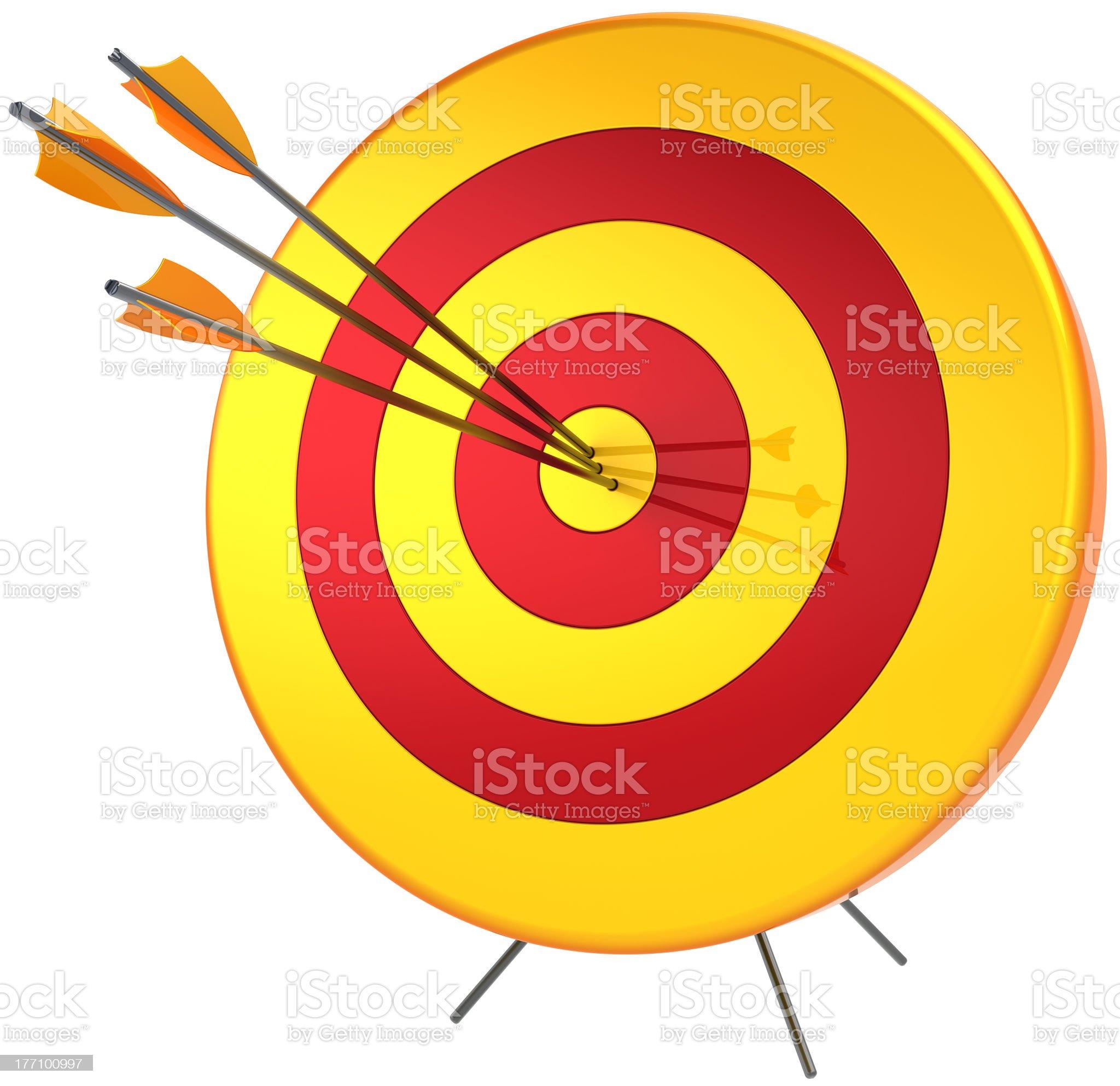 Succesful target bulls eye shooting royalty-free stock photo