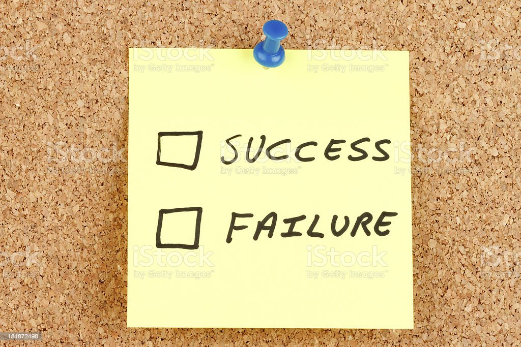 Success and Failure  Checkboxes on an Adhesive Note royalty-free stock photo