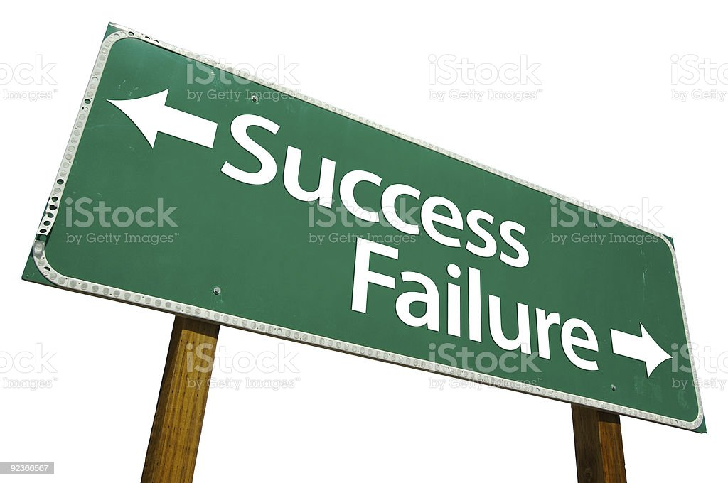Success and Failure Road Sign Isolated royalty-free stock photo
