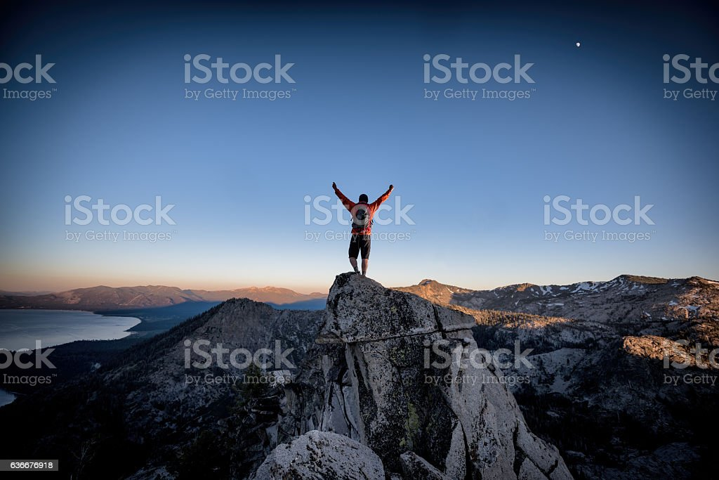 Success and Victory in the mountains stock photo