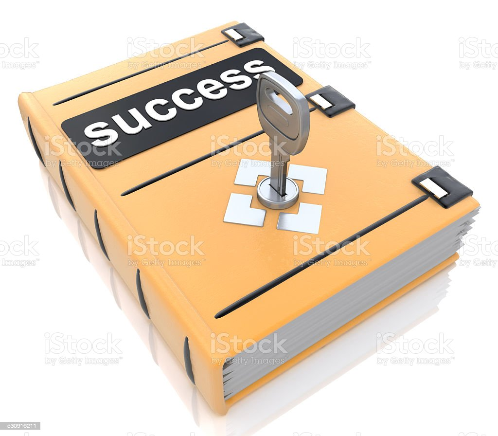 Success book with lock key stock photo