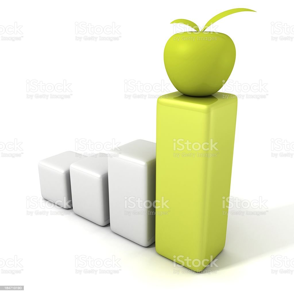 success business bar graph with green apple on the top royalty-free stock photo
