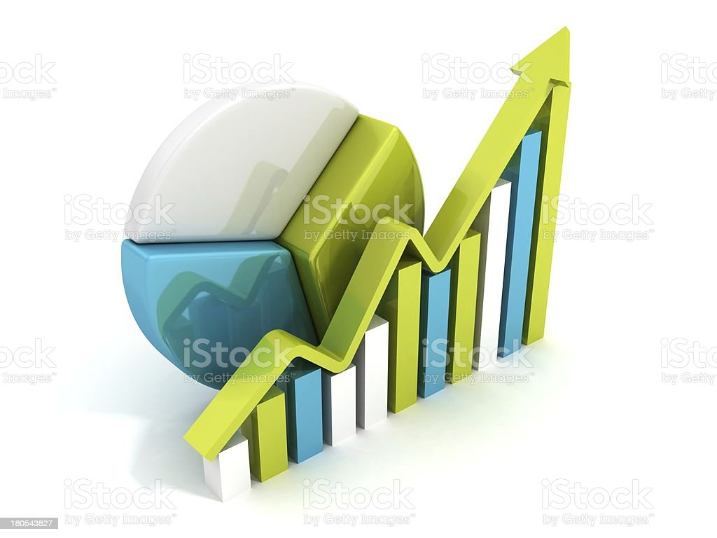 success business chart diagram with growing arrow royalty-free stock photo