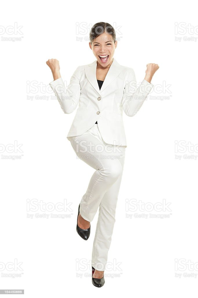 Success Business woman celebrating stock photo