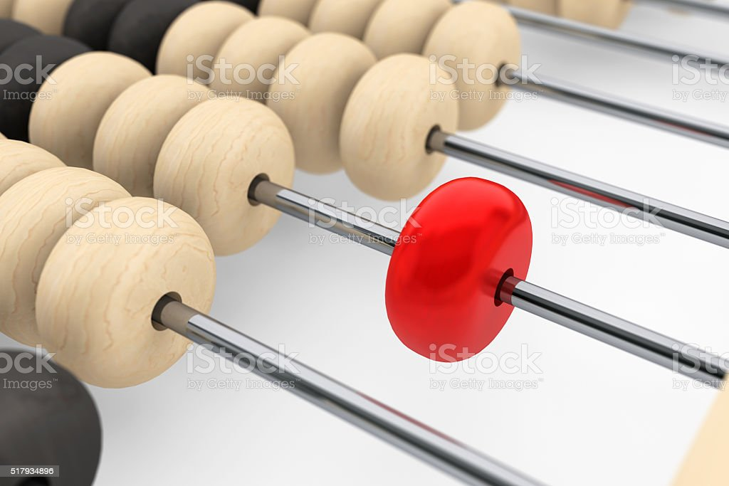 Success concept. Abacus with red bead stock photo