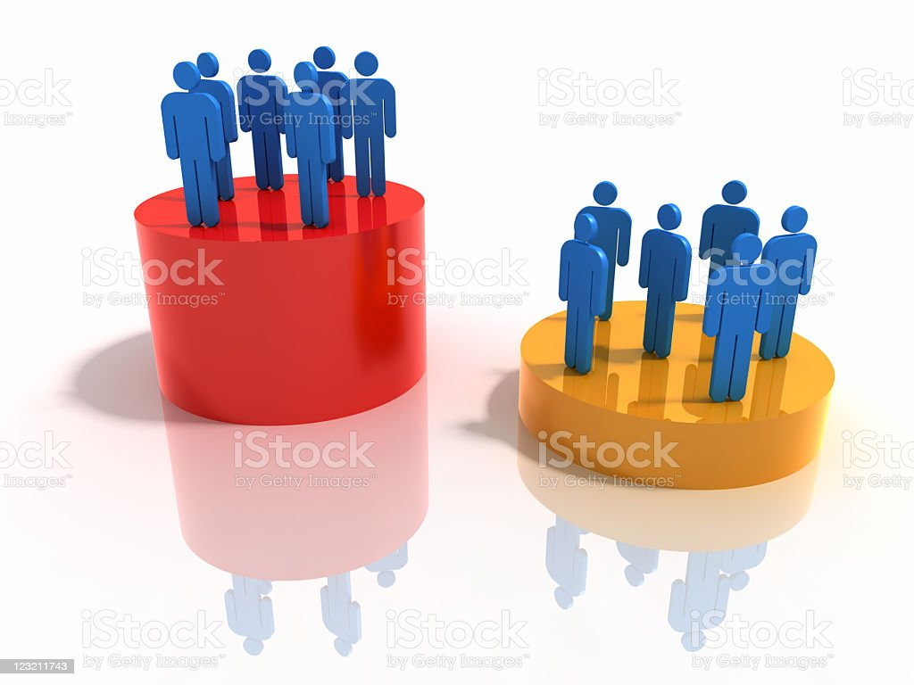 Success concept with figures on a big red and a gold podium royalty-free stock photo