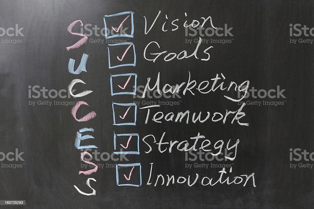 A success concept, written in chalk on a blackboard royalty-free stock photo