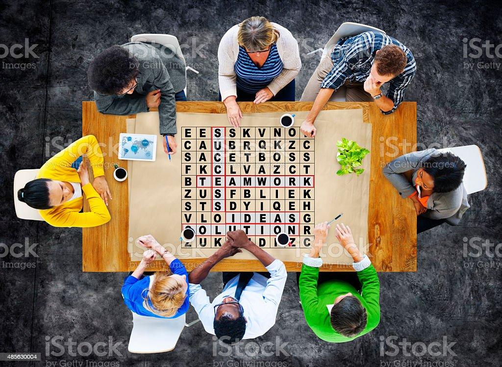 Success Crossword Puzzle Words Achiement Game Concept stock photo