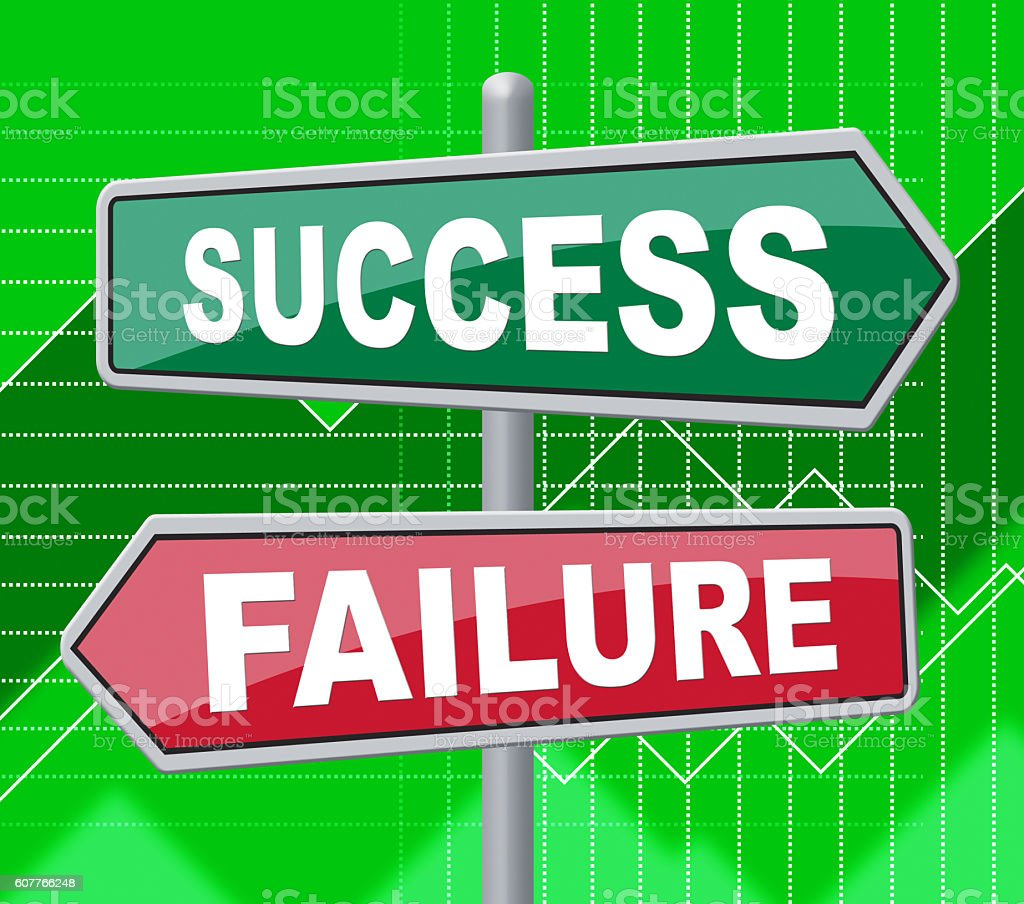 Success Failure Represents Disaster Victory And Board stock photo