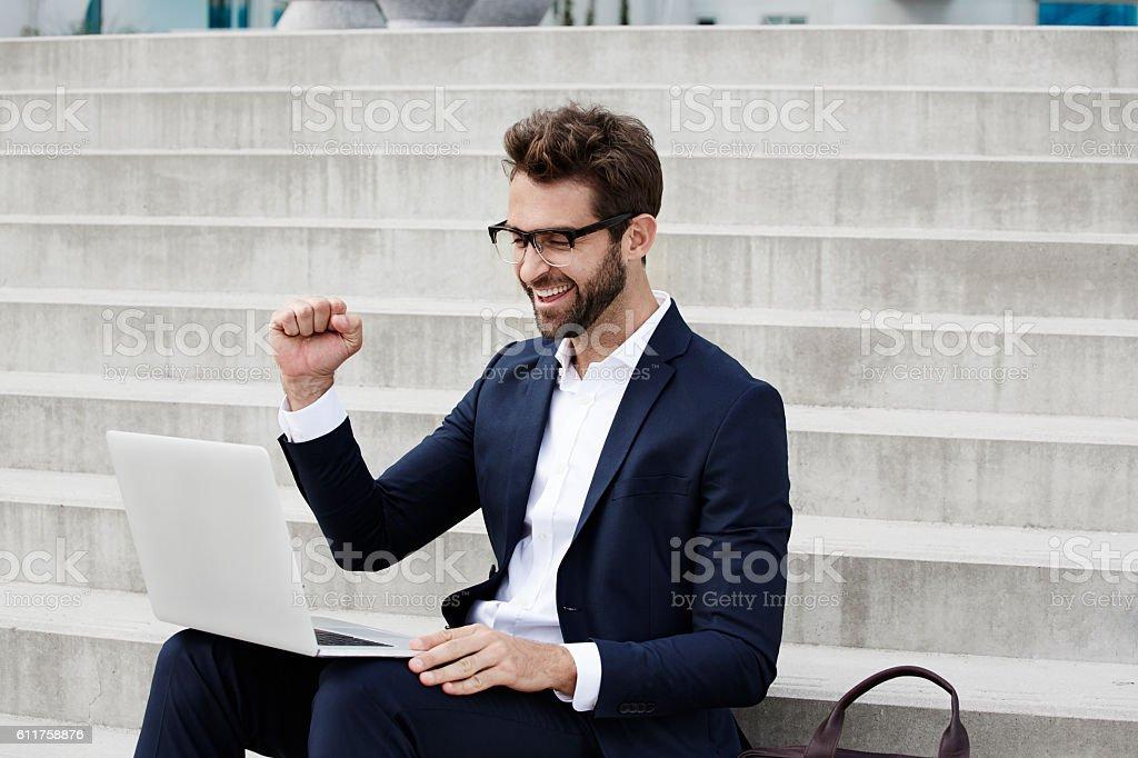 Success for businessman stock photo