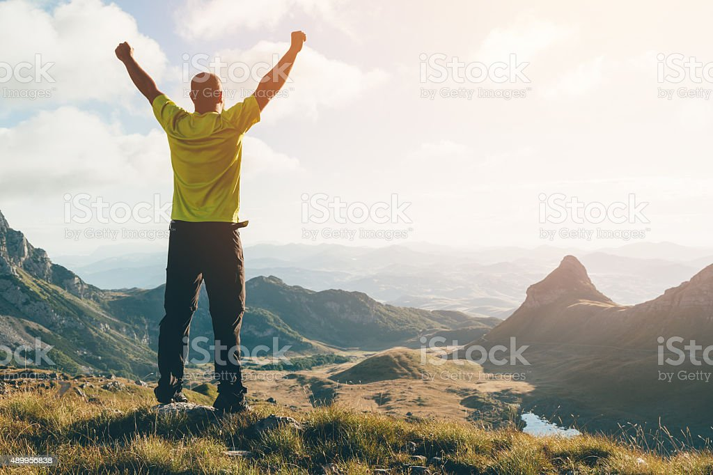 Success, freedom concept. Valley in the mountains landscape. stock photo