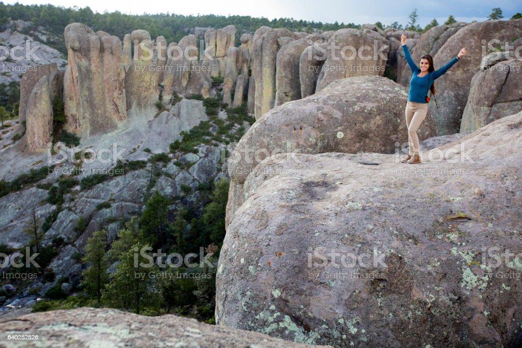Success girl at a tourist place stock photo