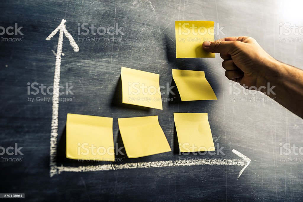 success graph on blackboard out of post-it notes stock photo