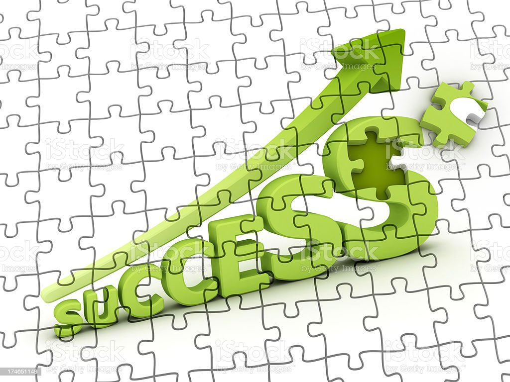 success graph on puzzle royalty-free stock photo