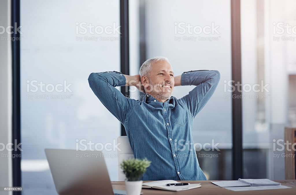 Success has been a well-earned win for him stock photo