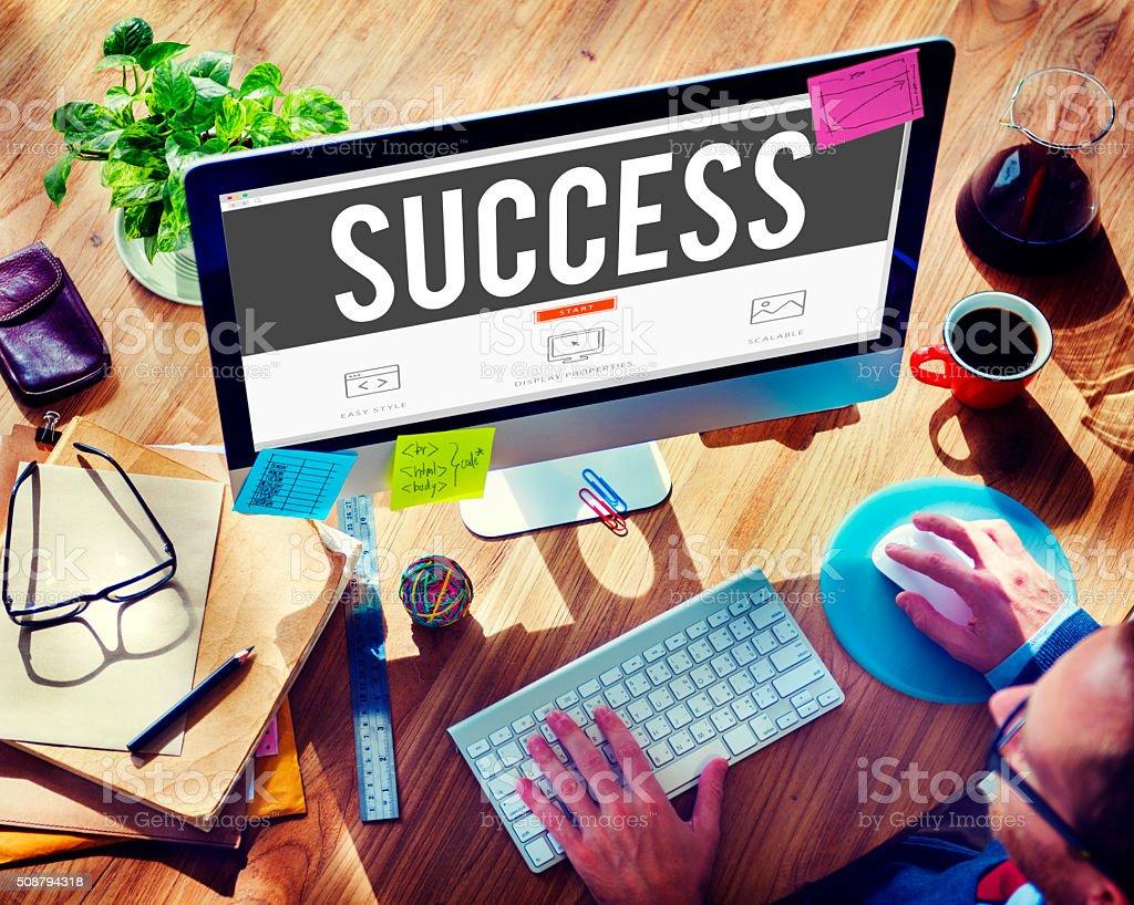 Success Improvement Celebration Winning Excellence Concept stock photo