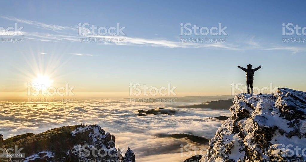 success in a majestic sunrise stock photo
