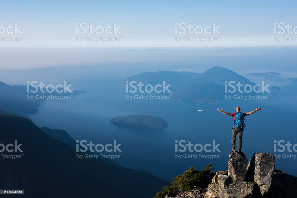 Success in the mountains stock photo